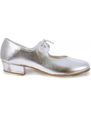 Elite brand silver PU low heel tap shoe