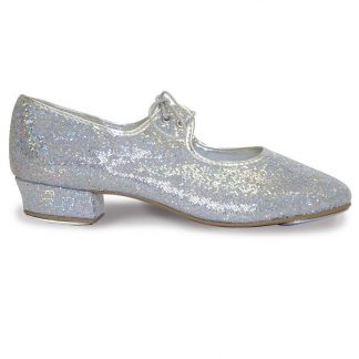 Silver Hologram low heel tap shoe by Roch Valley